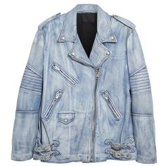 Women's Alexander Wang Leather Biker Jacket (136.200 RUB) ❤ liked on Polyvore featuring outerwear, jackets, oversized leather jacket, real leather jackets, moto biker jacket, blue jackets and moto jacket