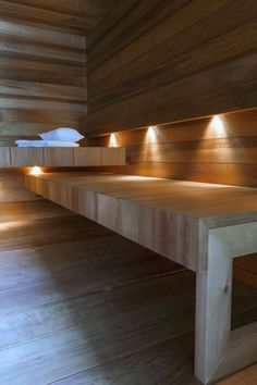 Really nicely accomplished sauna lighting!