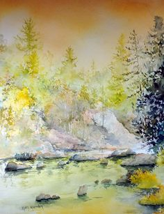 watercolor landscape with river