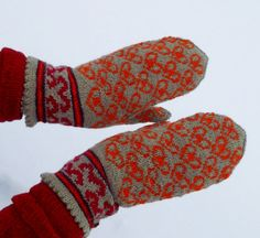 hand knitted wool mittens, patterned, gray orange red mittens, gray orange gloves, latvian mittens, arm warmer