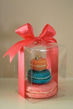 French Macaron Mini Cake - Vanilla Frosting Shimmer Birthday Cake.