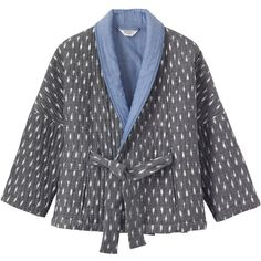 Toast Ikat Bed Jacket (255 CHF) ❤ liked on Polyvore featuring outerwear, jackets, quilted jacket, ikat jacket, print kimono, woven jacket and kimono jacket
