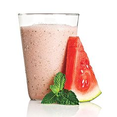 Watermelon with a Hint of Mint  2 cups seedless watermelon + 2 tablespoons fresh mint + 1/3 cup 2% plain Greek yogurt  98 CALORIES