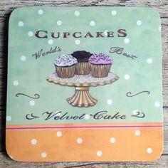 porta copos cupcake vintage - 4 unidades