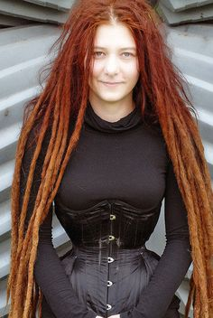red dreads, black corset