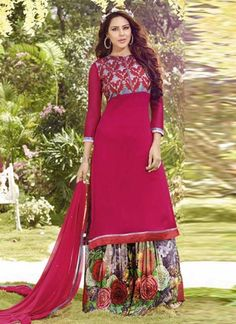 Magenta Chiffon Top With Embroidery Yock Salwar Suit