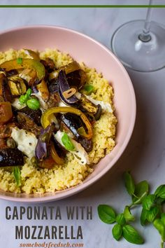 A Sicilian ratatouille with aubergine, peppers, salty capers and sweet sultanas topped with melting strings of cheese! Served on fluffy couscous, this is one of those meals that we keep coming back to. A flavoursome vegetarian dish that's packed with vegetables, our Caponata with Mozzarella is an adored weekday dinner recipe of ours! #auberginerecipes #eggplantrecipes #caponata Vegetable Ratatouille, Ratatouille Recipe, Vegetable Stew, Vegetarian Stew, Vegetarian Recipes, Healthy Recipes, Sicilian Caponata Recipe, Dinner Ideas, Dinner Recipes