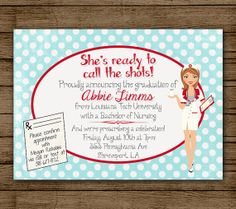 Customized Nursing Graduation Party Invitation by andyneal331, $15.00