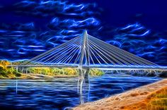 Photo of Christopher S. Bond Bridge in Kansas City, Missouri. Special effects created in Photoshop using Topaz labs Glow Filter.