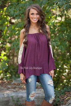 The Pink Lily Boutique - Fade Into View Burgundy Crochet Blouse , $34.00 (http://thepinklilyboutique.com/fade-into-view-burgundy-crochet-blouse/)