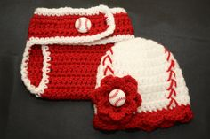 Newborn girl's crochet baseball hat with matching diaper cover on Etsy, $20.00