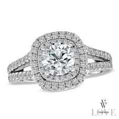 Vera Wang LOVE Collection 2 CT. T.W. Diamond Frame Split Shank Engagement Ring in 14K White Gold