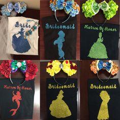Disney princess inspired bridal shirts. by SparklesByKmichelle