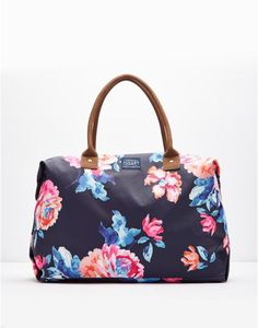 Kembry Navy Rose Printed Canvas Overnight Bag , Size One Size | Joules UK