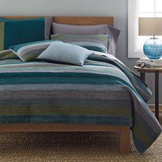 this quilt. with a solid color duvet. Weston Blue Stripe Quilt
