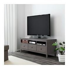 IKEA - HEMNES, TV unit, black-brown, , Solid wood has a natural feel.The concealed drawer runners ensure that the drawers run smoothly even when heavily loaded.Open compartments for your DVD player, etc.Large drawers make it easy to keep your things organized.