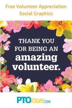 Get our free social graphics to get word out about how much your PTO or PTA loves volunteers! Volunteer Appreciation Gifts, Volunteer Gifts, Volunteer Programs, Employee Appreciation, Volunteer Week, Volunteer Quotes, Volunteer Ideas, Thank You Volunteers, Parent Volunteers