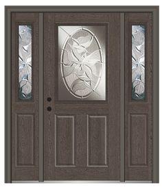 Shown Is A Lasting Impressions 1/2 Lite 2 Panel Fiberglass Oak Entry Door