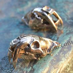 SMILODON, Sabertooth Tiger Skull Pendant, massive silver jewel, bronze