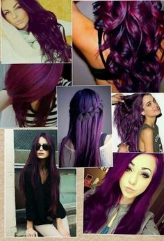 Dye your hair simple & easy to bright purple hair color - temporarily use vivid purple hair dye to achieve brilliant results! DIY your hair imperial purple with hair chalk Pelo Color Borgoña, Corte Y Color, Hair Color Purple, Hair Color And Cut, Hair Colors, Dark Purple, Plum Color, Love Hair, Gorgeous Hair