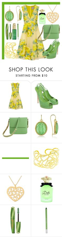 """""""Gold Heart"""" by lullulu ❤ liked on Polyvore featuring Lela Rose, Casadei, STELLA McCARTNEY, Tagliamonte, NOVICA, Dolce&Gabbana, Rimmel, Urban Decay and Nuxe"""