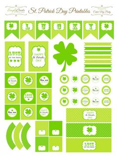 Large collection of FREE printables, including water bottle labels and more for St Paddy's Day.