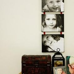Mod podge pictures on artist canvas for a cheap canvas print looking home decor project. LOVE!!!