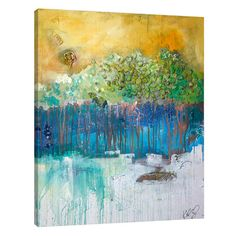 """JaxsonRea 'Dim Trees' by Kent Youngstrom Painting Print on Wrapped Canvas Size: 45"""" H x 36"""" W x 1.5"""" D"""