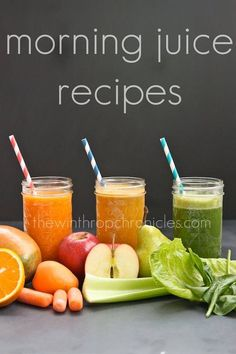 Morning Juice Recipes. Your mornings will never be the same when you start it with these juices. Juice 1: 1 cup mango puree, 2 carrots, 1 apricot, 2 stalks celery, 1 orange. Juice 2: 2 carrots, 2 stalks celery,1 orange, 1 apple Juice 3: 2 cups romaine lettuce, 1 cup spinach, 1 pear, 1 apple.