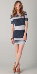 James Perse- Wide Strip Slash Neck Dress