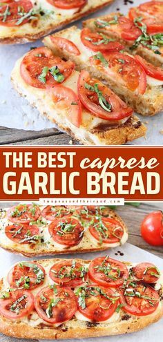 This super delicious Caprese Garlic Bread recipe is the BEST! Crusty, cheesy, and buttery, it is definitely a game-changer Enjoy this easy appetizer as a Memorial Day party idea or 4th of July party food! Quick Bread Recipes, Fun Easy Recipes, Side Dish Recipes, Easy Meals, Muffin Recipes, Yummy Recipes, Party Bread Recipe, Family Meals, Family Recipes