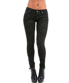 Take a look at this Black Star-Struck Skinny Pants by Buy in America on #zulily today!