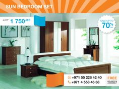 If you like to watch sunsets, you know, that it's better to do it in comfort and cozy place. The Sun Bedroom Set may provide you with such. It consists of a bed, 2 nightstands, a chest of drawers, a mirror and a matching 3-door wardrobe with glass door. Polish crafted, simple style and affordable price. That's all that is required to enjoy not only your after-sunset dreams, but the hole of your routine life.  More details about Sun Bedroom here: http://gtfshop.com/sun_bedroom_set_buy_uae