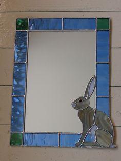 Sitting Hare Mirror #StainedGlassMirror