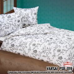 "Komplet pościeli satynowej ""Varsai"" - 200x160 cm + 2x(80x70 cm) - biały z popielatym - Dommania.pl Comforters, Bed Pillows, Pillow Cases, Blanket, Home, Creature Comforts, Pillows, Quilts, Ad Home"