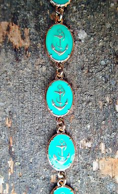 Turquoise Anchor Plate Linked Bracelet