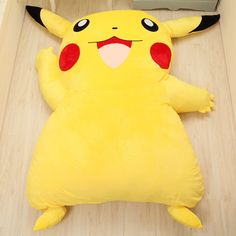 POKEMON Pikachu plush bed Giant cushion bed 皮卡丘榻榻米懒人床 创意懒人床垫