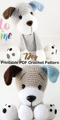 Looking for Amigurumi Dog Crochet Patterns? There are lots of cute puppy patterns to try. There are amigurumi tips too for beginners. Chat Crochet, Crochet Sloth, Crochet Mignon, Giraffe Crochet, Crochet Animal Amigurumi, Crochet Animals, Crochet Dolls, Dog Crochet, Diy Crochet Dress