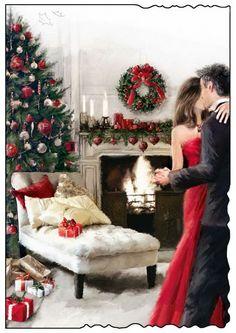 It's Christmas ! Christmas Scenes, Noel Christmas, Vintage Christmas Cards, Christmas Pictures, Christmas Wishes, Xmas Cards, Christmas And New Year, Winter Christmas, Illustration Noel