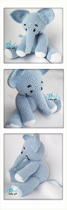 Elephant Crochet Pattern, amigurumi animal