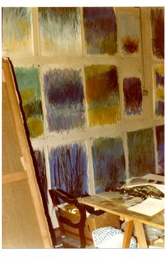 Joan Mitchell's Studio (@Kimberlee Robinson, this looks like our bedroom, uh-hum, that is your studio, when your paintings are drying).