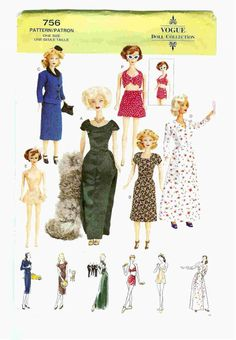 Free Copy of Pattern - Vogue 0756 -Vintage styles for fashion dolls.