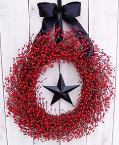 XL BLACK STAR Flaming Red Berry Wreath-Front Door Wreath-Winter/Spring Wreath Decor-Front Door Decor-Rustic Primitive Country Home Decor