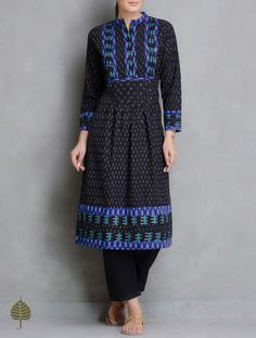 Buy Black Blue Ivory Handloom Ikat Cotton Pleated Kurta by Jaypore Women Kurtas Enigma and Pants Online at Jaypore.com