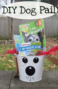 Cute dog pail craft makes a perfect gift bucket for kids!