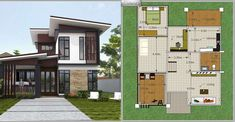 Modern Single Detached House - House And Decors Two Story House Plans, Two Story Homes, Modern House Plans, Brick Accent Walls, Small Hallways, Buying A New Home, Built In Cabinets, Outdoor Living, Outdoor Decor