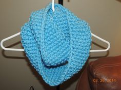Hand knitted infinity scarf in bright blue on Etsy, $27.00