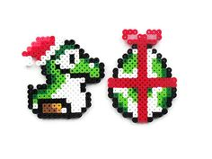 Baby Yoshi with Santa Hat and Egg Present Perler Sprites on Etsy, $5.00