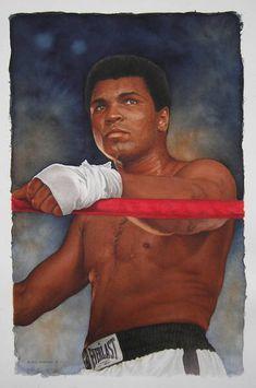 Muhammed Ali watercolour by Glen Green 14x22