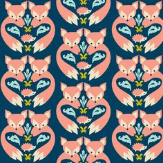 Fox Print Teal fabric by boredinc on Spoonflower - custom fabric
